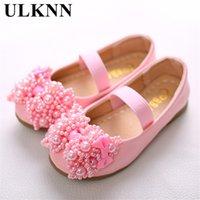 детские туфельки оптовых-ULKNN Кожаные туфли для девочек Симпатичные сладкие стильные розовые с бантом на плоской подошве с Tendon Kids Shoes Детская износостойкая белая обувь 26-36