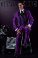 calça de kerchief venda por atacado-Custom Made Pico Lapela Do Noivo Smoking Padrinhos Melhor Homem Terno Do Casamento Dos Homens Ternos (Jaqueta + Calça + Colete + Gravata + lenço) P: 13
