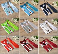 Wholesale boys bowtie for sale - Group buy 3pcs Set Children Suspenders Kids Student Braces Bow tie set Bowtie Toddler Solid Color Cloth Set For Boys Girls