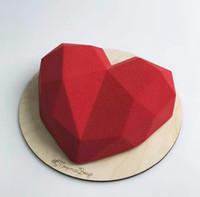 molde del corazón 3d al por mayor-Shenhong diamante 3D amor del corazón Torta del postre del molde de silicona Pop Art 3D Molde para hornear pasteles de crema batida de Silikonowe Moule Decoración