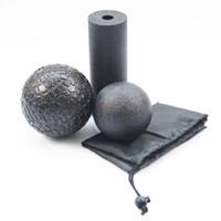 ingrosso rullo di massaggio di schiuma di yoga-3 pz / set Yoga Block Roller Fitness Rullo di Schiuma Epp Massaggio Palla Lacrosse Palla Pilates Body Esercizi Gym Trigger Punti Formazione C19041501