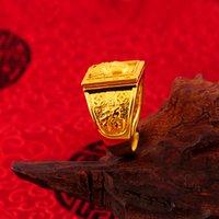 ingrosso anello di buddha d'oro-Alta qualità maschile boutique Thai ottone dorato placcato oro non-fading Buddha testa anello maschile stampa 999 anello aperto
