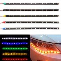 luz de conducción diurna flexible led al por mayor-30cm del coche LED Franja de luz de alta potencia de 12V 15SMD coche DRL lámpara flexible diurna LED resistente al agua corriente de la luz decorativa del coche-Styling