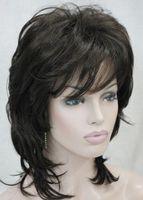 perruques de longueur moyenne ondulées brunes achat en gros de-Perruque LIG 002014 perruque pleine longueur brune
