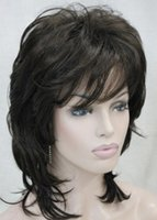 perucas castanhas onduladas do comprimento médio venda por atacado-WIG LL 002014 Elegante charme camada macia marrom comprimento médio ondulado peruca cheia das mulheres