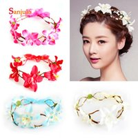 Wholesale travel accessories for women for sale - Group buy Summer Beach Travel Hair Wear for Women Garland Flowers Attractive Hair Accessories Bridal Headband Decoration HG09
