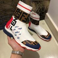 homens sapato sapato venda por atacado-[Com a caixa] new arrival designers de moda mulheres mocassins shoes marca das mulheres dos homens de alta top branco preto casual meia sapatos ff sneakers 35-45