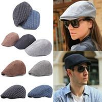 erkekler ilmi şapkalar şapkalar toptan satış-Newsboy Gatsby Kap Erkek Ivy Şapka Golf Sürüş Düz Cabbie Bere Sürücü Şapka Sıcak