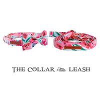 Wholesale dog collars leashes bows resale online - Cute Pink Dog Collar Leash Set with Bow Tie for Big and Small Dog Cotton Fabric Collar Rose Gold Metal Buckle Pet Products