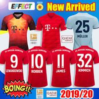 camisa muller al por mayor-Nuevos 2019 Bayern Munich JAMES RODRIGUEZ Camisetas de fútbol 2020 LEWANDOWSKI MULLER KIMMICH EA SPORTS Camiseta 18 19 20 VIDAL HUMMELS Camiseta de fútbol
