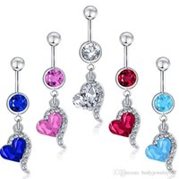 Wholesale navel accessories resale online - D0144 colors mix color heart style ring Belly Button ring Navel Rings Body Piercing Jewelry Dangle Accessories Fashion Charm
