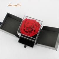 cajas de rosas al por mayor-Amaryllis A grado de alta calidad toque suave eterno para siempre flor inmortal Rosas preservadas en caja de regalo sorpresa de larga duración