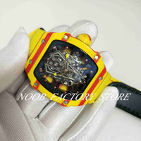 Wholesale original watch cases for sale - Group buy Luxury Super New Automatic Movement Watch Mens Sport RM27 RAFA Factory Watches Yellow Leather Strap Ultralight Case Original Clasp
