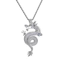 cadenas de plata para hombre de china al por mayor-Para hombre helado fuera plateado zodiaco chino dragón colgante cobre colgante collar plata dragón colgante cadena de cuerda de 24 pulgadas