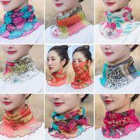 Wholesale turban shawl resale online - Women Summer Neck Face Wraps polyester Sun UV Protective Silk Shawl Scarf Bandana Turban Beach Tulle Sun Protection Scarf KKA7753