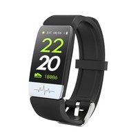 Wholesale ecg watches resale online - Fitness tracker Bluetooth Smart Sport Bracelet ECG PPG Wristband Watch Heart Rate Monitor Rings IP Waterproof Smart Band For IOS Android