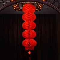 Wholesale chinese hanging decor resale online - Chinese Style Five String Blessing Red Paper Lanterns Happy New Year China Living Room Decor Hanging Ornaments Festival Theme