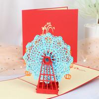 ingrosso disegni handmade di biglietti di auguri di compleanno-Fashion 3d Handmade Ferris Wheel Greeting Cards Design 3D Laser Cut Post Cards Compleanno Valentine Greeting