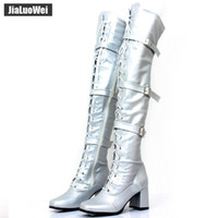 Wholesale pole dance halloween resale online - Women Boots Retro Block High Heels Ladies Over The Knee Square Toe Thick heel Lace up Zip Buckles strap Man Pole Dancing Shoes for Cosplay