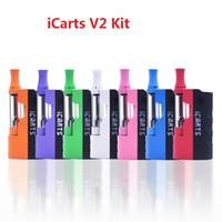 las baterías encajan v2 al por mayor-Kit iCarts V2 100% original con 0.5 cartuchos de 1.0 ml Precalentar la batería Mod Fit Cartucho Liberty VS Imini v1 v2
