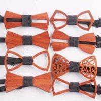 ingrosso bowtie vintage-9 stili vintage rosso palissandro papillon scava fuori bowknot per gentiluomo nozze in legno bowtie fasion accessori cca11257 60 pz