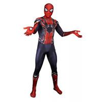 trajes de spiderman adultos al por mayor-Unisex Lycra Spandex Zentai de Halloween 2019 Nuevo lejos de casa Nuevo Spiderman Cosplay Disfraces Traje Adultos / niños del estilo 3D
