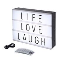 lámpara negra diy al por mayor-Lightbox Novelty Night Light A4 Led Light Box Lámpara de mesa con DIY Black Letter Cards USB Power Christmas DIY Holiday Home Desk