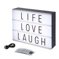 siyah ledli masa lambası toptan satış-Lightbox Yenilik Gece Işık A4 Led Işık Kutusu Masa Lambası DIY Siyah Mektup Kartları Ile USB Güç Noel DIY Tatil Ev Danışma