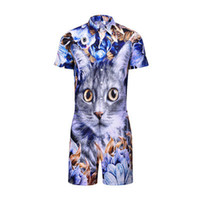 Wholesale hot pussy resale online - Hot style men s wear summer individuality jumpsuit men s short sleeve creative floral pussy D printed shirt overalls