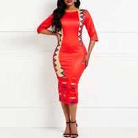renk blok bodycon elbise toptan satış-Sıska Kadınlar BODYCON Elbise Yaz Moda Renk Bloğu Seksi Bölünmüş Elastik İnce Şık Ofis Aşınma Casual Kırmızı Kulübü Elbiseler Kadın