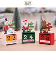 Wholesale solid wooden toys resale online - 3 Style Christmas Decoration Christmas Wooden Calendar Santa Snowman Elk Desktop Decoration Children Birthday Gift Kids Toy XD22629