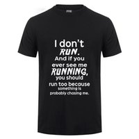 lustiges kurzes kleid großhandel-Ich laufe nicht T-Shirt Männer Sommer Lässige Kurzarm Baumwolle Lustiges T-shirt Zombie Horror Witz Humor Abendkleid Fitness T-shirt
