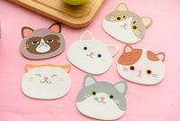Wholesale cute coasters resale online - Coaster Creative Cartoon Animals Heat Insulation Tea Cup Holder Pad Cute Cat Silicone Anti Skid Home Decor Kitchen Tool