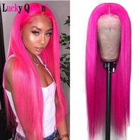 Wholesale ombre human hair lace wigs resale online - Lucky Queen Hot Pink Human Hair Wigs Pre Plucked Brazilian Remy Straight x4 Lace Front Wigs Ombre Red For Women