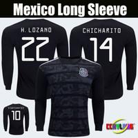 shirts trikot voller ärmel großhandel-Long Sleeve 2019 Mexico Gold Cup Langarm-Trikot CHICHARITO LOZANO GUARDADO DOS SANTOS 2019 VELA LAYUN Fußballshirts mit V-Ausschnitt