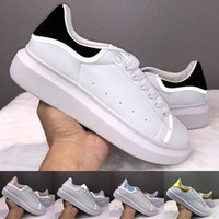 Wholesale black cream parties resale online - 2019 Exciting Men Women Designer Shoes Black White Reflective Leather Sneakers Girls Fashion Luxury Party Casual Velvet Chaussures