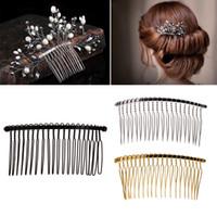 peine de metal al por mayor-2017 moda diy en blanco pinzas para el cabello de metal velo de novia lado peine 20 dientes nupciales accesorios para el cabello caliente NOV9_15