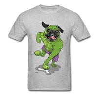 grüne übermenschhemden großhandel-Die Unglaubliche Mops Coole 2018 Sommer Top T-shirt Männer Grau Grün Cartoon Superman Hundedruck Baumwolle T-shirt Lustig