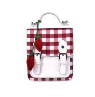 свежая клубника оптовых-Небольшой свежий японский ИНС ветер шить контраст клубника плед сумка 2019 новый рюкзак дамы