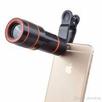 reemplazos de teléfonos celulares al por mayor-Universal 12X Telescopio para teléfonos móviles HD Teleobjetivo externo Lente de teleobjetivo Zoom óptico Teléfono celular Lente de la cámara Kit