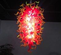 luz colgante amarillo rojo al por mayor-Pendiente moderna de LED rojo claro y amarillo araña de cristal soplado mano lámpara de cristal luces LED para la decoración de la casa nueva
