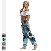 Wholesale tie yoga pants resale online - 2019 New Hot Summer Color Geometric Tie Dye Yoga Pants With Pockets Wide Leg Pants Tummy Control Sports Wear For Women Bohemian