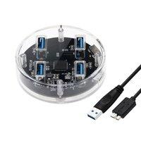 anti-gleit-gummi-pads groihandel-4 Ports USB3.0 Transparenter Desktop-HUB mit Gummi-Antirutschpad Externes Netzteil für Reserced Schwarz