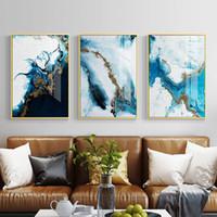 kunst leinwand wand dekore großhandel-Nordic abstrakte Farbe Spalsh blau golden Leinwand Malerei Poster und drucken Sie einzigartige Dekor Wandkunst Bilder für Wohnzimmer Schlafzimmer