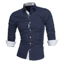 boutons pour manches de chemises pour hommes achat en gros de-Chemise de designer en coton à manches longues Slim Fit Casual Button Shirt Business Tops Hommes Chemise de couleur unie Chemise Fashion