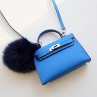 tote da cor das senhoras venda por atacado-Nova Cor Azul 19 CM Mini Marca Mulheres Totes Genuíno sacos de couro Bolsa de Ombro Com Fecho Cachecol Moda Senhora bolsa de Alta Qualidade