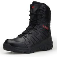 deri dövüş ayakkabıları toptan satış-Erkekler Yüksek Kaliteli Marka Deri Çizmeler Özel Kuvvet Taktik Çöl Savaş erkek Botları Açık Ayakkabı Ayak Bileği XX-339