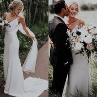 Wholesale sexy outdoor wedding dresses resale online - 2020 Spaghetti Straps Satin Mermaid Bohemia Wedding Dresses Simple Sweep Train Boho Outdoor Wedding Bridal Gowns robes de mariée