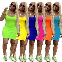 turuncu yeşil elbise toptan satış-Kadın Tankı Elbise Kolsuz Çift Scoop Casual Bodycon Tank Elbise Katı Yeşil Turuncu Yaz Seksi Basit Kaşkorse Mini Elbiseler