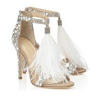 ingrosso valentines vestire bianco-2019 handmade di lusso peep-toe donne del vestito da sposa sandali tacco alto scarpe sexy T-TACCHI Sparkling scarpe da festa abito da sposa di pelliccia Strass